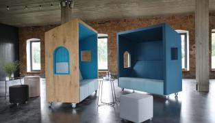 Budki akustyczne, meble biurowe, akustyka, meble biurowe z Łodzi, meble tapicerowane, meble akustyczne firmy Bejot.